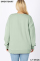 Back image of Light Green Wholesale - Cotton Round Crew Neck Plus Size Sweatshirt with Side Pockets