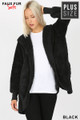 Front Image of Black Wholesale - Faux Fur Hooded Cocoon Plus Size Jacket with Pockets