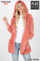 Front Image of Ash Rose Wholesale - Faux Fur Hooded Cocoon Plus Size Jacket with Pockets