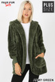 Front Image of Army Green Wholesale - Faux Fur Hooded Cocoon Plus Size Jacket with Pockets