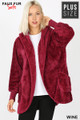 Front Image of Wine Wholesale - Faux Fur Hooded Cocoon Plus Size Jacket with Pockets