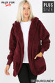 Front Image of Burgundy Wholesale - Faux Fur Hooded Cocoon Plus Size Jacket with Pockets