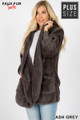 45 Degree image of Ash Grey Wholesale - Faux Fur Hooded Cocoon Plus Size Jacket with Pockets