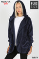 Front Image of Navy Wholesale - Faux Fur Hooded Cocoon Plus Size Jacket with Pockets