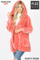 Front Image of Dusty Rose Wholesale - Faux Fur Hooded Cocoon Plus Size Jacket with Pockets