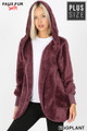 Front Image of Eggplant Wholesale - Faux Fur Hooded Cocoon Plus Size Jacket with Pockets