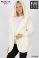 Front Image of Ivory Wholesale - Faux Fur Hooded Cocoon Plus Size Jacket with Pockets