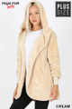 Front Image of Cream Wholesale - Faux Fur Hooded Cocoon Plus Size Jacket with Pockets