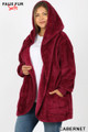 Slightly turned image of Cabernet Wholesale - Faux Fur Hooded Cocoon Plus Size Jacket with Pockets