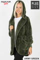 Slightly turned Image of Army Green Wholesale - Faux Fur Hooded Cocoon Plus Size Jacket with Pockets