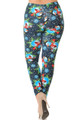 Wholesale - Buttery Soft Frosty Blue Snowman Christmas Extra Plus Size Leggings - 3X-5X