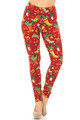 Wholesale - Buttery Soft Ruby Red Christmas Stocking Extra Plus Size Leggings - 3X-5X