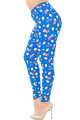 Wholesale - Buttery Soft Icy Blue Christmas Penguins Extra Plus Size Leggings - 3X-5X