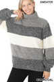 Front view of Charcoal Wholesale - Color Block Striped Turtle Neck Balloon Sleeve Sweater