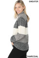 Side image of Charcoal Wholesale - Color Block Striped Turtle Neck Balloon Sleeve Sweater
