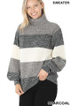 45 degree left side image of Charcoal Wholesale - Color Block Striped Turtle Neck Balloon Sleeve Sweater