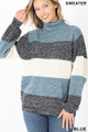 Front image of Blue Wholesale - Color Block Striped Turtle Neck Balloon Sleeve Sweater