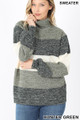 Front image of Hunter Green Wholesale - Color Block Striped Turtle Neck Balloon Sleeve Sweater
