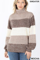 Front image of Mocha Wholesale - Color Block Striped Turtle Neck Balloon Sleeve Sweater