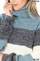 Close up of Wholesale - Color Block Striped Turtle Neck Balloon Sleeve Sweater