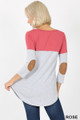 Back view of Rose Wholesale - Color Block V-Neck 3/4 Sleeve Top with Front Pocket