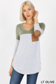 Front view of Lt Olive Wholesale - Color Block V-Neck 3/4 Sleeve Top with Front Pocket