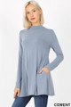 45 degree left side image of Cement Wholesale - Long Sleeve Mock Neck Top with Pockets