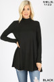 Front image of Black Wholesale - Long Sleeve Mock Neck Top with Pockets