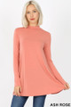 Front image of Ash Rose Wholesale - Long Sleeve Mock Neck Top with Pockets