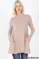 Front image of Mocha Wholesale - Long Sleeve Mock Neck Top with Pockets