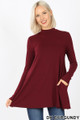 Front image of Dk Burgundy Wholesale - Long Sleeve Mock Neck Top with Pockets