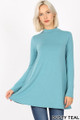 Front image of Dusty Teal Wholesale - Long Sleeve Mock Neck Top with Pockets