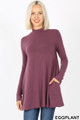Front image of Eggplant Wholesale - Long Sleeve Mock Neck Top with Pockets