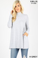 Front image of Heather Grey Wholesale - Long Sleeve Mock Neck Top with Pockets