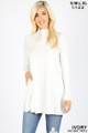 Front image of Ivory Wholesale - Long Sleeve Mock Neck Top with Pockets