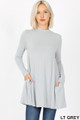 Front image of Lt Grey Wholesale - Long Sleeve Mock Neck Top with Pockets