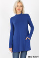 Front image of Mid Navy Wholesale - Long Sleeve Mock Neck Top with Pockets
