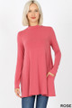 Front image of Rose Wholesale - Long Sleeve Mock Neck Top with Pockets