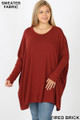 Front view of Fired Brick Wholesale - Oversized Round Neck Poncho Plus Size Sweater