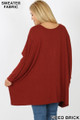 Rear view image of Fired Brick Wholesale - Oversized Round Neck Poncho Plus Size Sweater