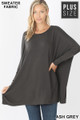 Front view of Ash Grey Wholesale - Oversized Round Neck Poncho Plus Size Sweater