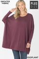 Front view of Eggplant Wholesale - Oversized Round Neck Poncho Plus Size Sweater