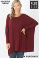 Front view of Dk Burgundy Wholesale - Oversized Round Neck Poncho Plus Size Sweater