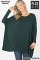 Front view of Hunter Green Wholesale - Oversized Round Neck Poncho Plus Size Sweater