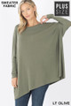 Front view of Lt Olive Wholesale - Oversized Round Neck Poncho Plus Size Sweater