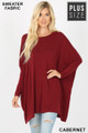 Front view of Cabernet Wholesale - Oversized Round Neck Poncho Plus Size Sweater