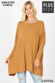 Front view of Coffee Wholesale - Oversized Round Neck Poncho Plus Size Sweater