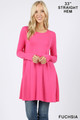 Front of Fuchsia Wholesale - Long Sleeve Swing Tunic with Pockets