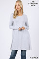 Front of Heather Grey Wholesale - Long Sleeve Swing Tunic with Pockets