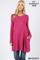Front of Magenta Wholesale - Long Sleeve Swing Tunic with Pockets